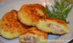 Котлеты картофельные с мясной начинкой