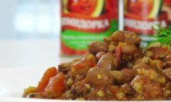 Говядина с фасолью и томатами