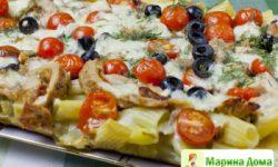 Запеканка — пицца из макарон