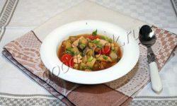 баклажановый суп с жареной курицей, рецепт приготовления