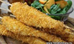 Куриные шашлычки в духовке в панировке из чипсов