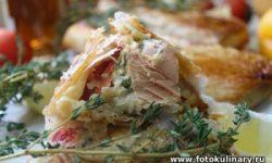 Рыба запечённая в тесте с болгарским перцем