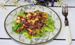 тёплый мясной салат с картофелем и фасолью. Рецепт приготовления
