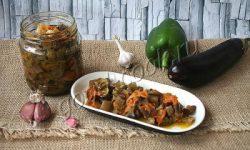 консервированный салат из баклажанов и овощей, рецепт приготовления